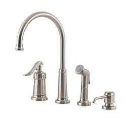 4 Kitchen Faucets Pfister Gt26 4ypk Ashfield 4 Kitchen Faucet With Sidespray And Matching Soap Dispenser