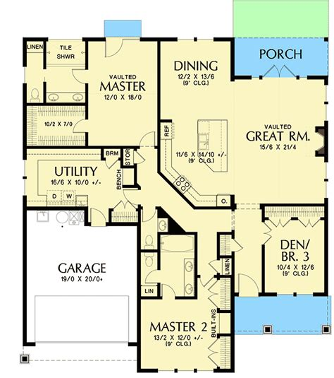 plan 69691am one story house plan with two master suites