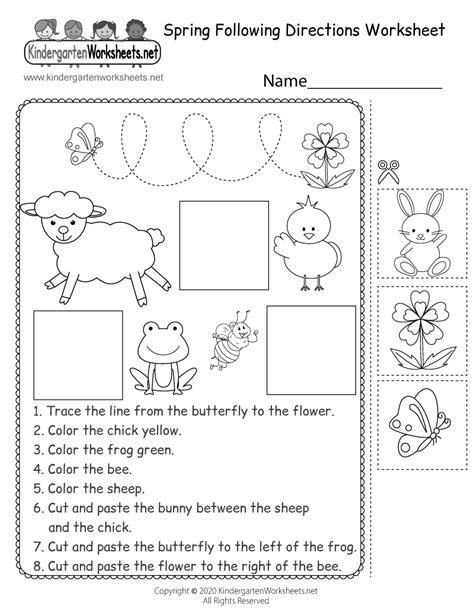 printable  directions worksheets