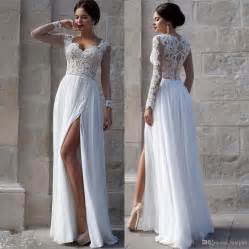 white bridesmaid dresses white wedding dresses 2015 lace bridal gowns applique sheer illusion sleeves split
