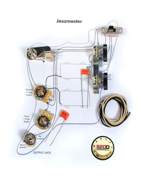 fender vintage jazzmaster wiring kit pots switch slider caps bracket diagram reverb luth