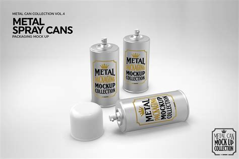 The mockups are available in well layered psd file formats and as such is very easy to customize. Metal Spray Cans Packaging Mockup
