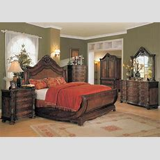 Jasper Traditional Queen Cherry Sleigh Bed Marble Top 4 Pc