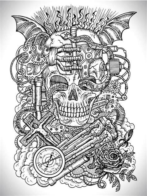 black  white drawing  scary skull steampunk  gothic symbols  rose demon wings