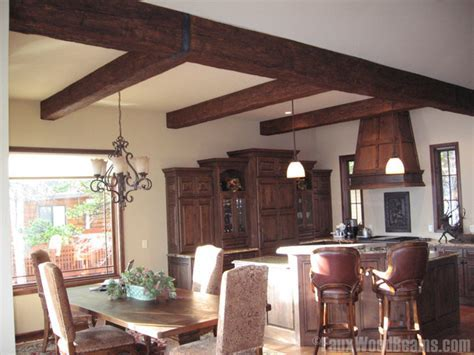 Dining Room with Faux Wood Beams   Traditional   Dining