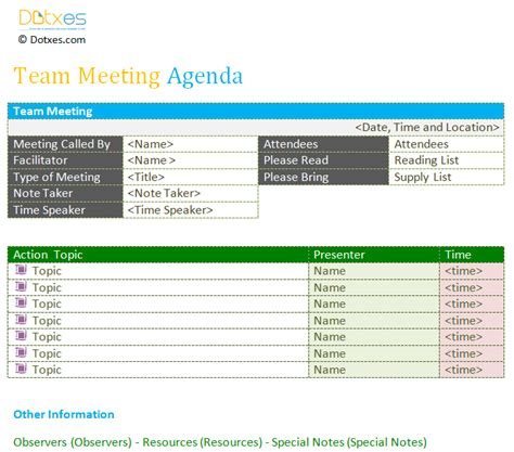 team meeting agenda template dotxes