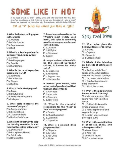 quiz cuisine foods drinks and spicy food trivia 6 95 picnic printable
