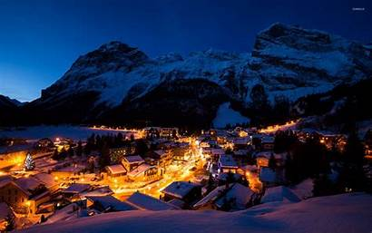 Mountain Night Wallpapers Town Snowy 1080p Lights