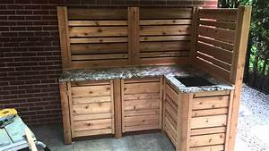 cuisine exterieur avec lavabo youtube With plan de travail exterieur en bois