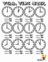 Clock Coloring Tell Pages Printable Worksheets Hour Chart Sheets Clocks Learning Yescoloring Telling Face Minute Hours Practice Minutes Learn Printables sketch template