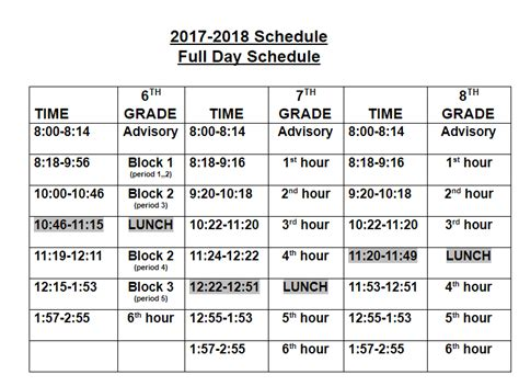 student schedules bryant middle school