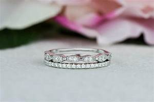 art deco wedding band and half eternity band stacking With engagement wedding and eternity ring sets
