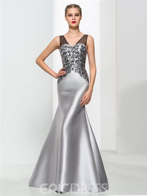 Ericdress Mermaid V-Neck Beading Elegant Evening Dress ...