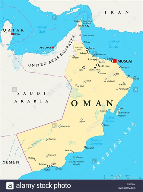 oman political map  capital muscat national borders
