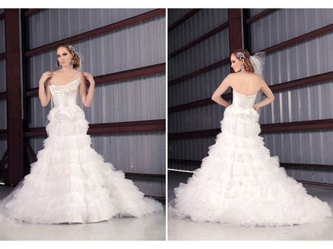 Romantic White Drop-waist Wedding Dress With Pleated Tulle
