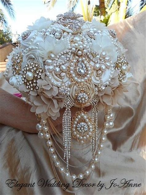 Gold And Ivory Brooch Bouquet Gatsby Style Brooch Bouquet