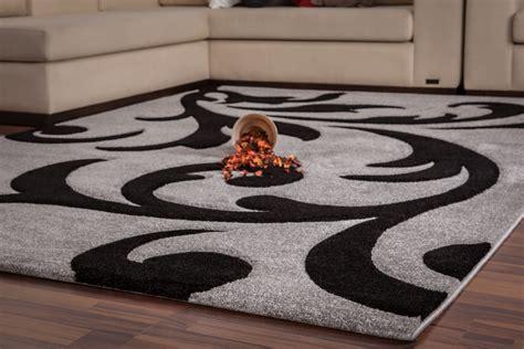 tapis moderne gris et noir 80x150 cm