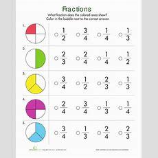 Fractions Quiz  1st Grade Math  Fractions, Math Worksheets, Fractions Worksheets