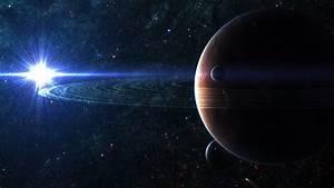 Full HD Wallpaper planet with rings supernova satellite ...