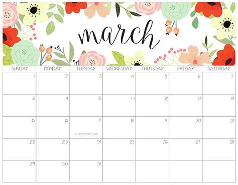 printable march calendar  templates  calendars