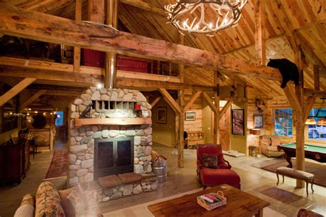 Montana Lodge Themed Barn Home  Traditional  Living Room