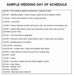 Wedding schedule templates 29 free word excel pdf for Wedding day schedule of events template