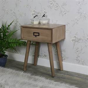 wooden 1 drawer bedside lamp table retro urban style With retro 1 drawer lamp table