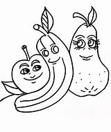 Coloring Pages Bananas Funny Printable Banana Apples Dancing sketch template