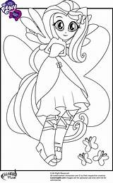 Equestria Coloring Pages Pony Little Fluttershy Mlp sketch template