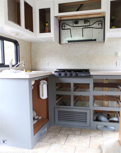 rv kitchen cabinets rv renovation progress mountain modern
