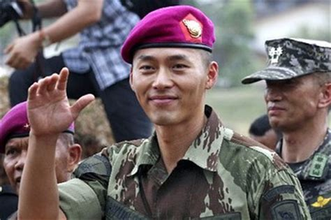 hyun bin returns  military service sheds tears