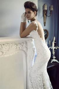 Open back lace wedding dress with crystal beadng onewedcom for Open back wedding dresses lace