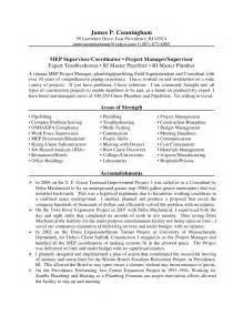 plumbing foreman resume templates cunningham mep project mgr resume