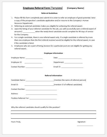 employee referral form template ms word microsoft word