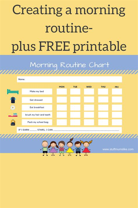 kids morning routine checklist   printable