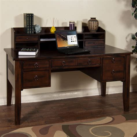 desk with hutch and drawers writing desk with keyboard drawer hutch by sunny designs