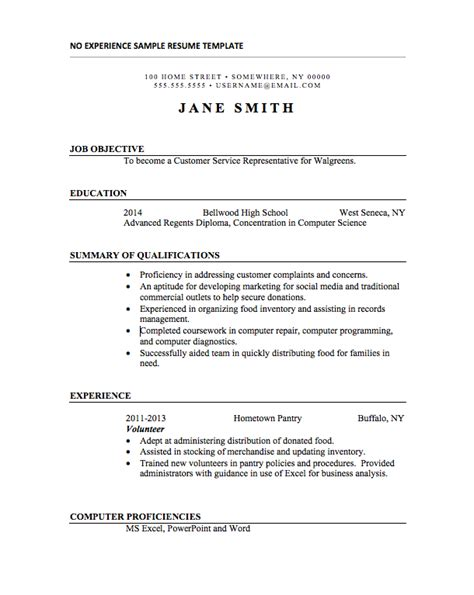 Student Resume No Experience by 21 Basic Resumes Exles For Students Internships