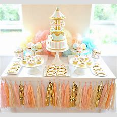 Pink, Blue And Gold Carousel Cake Table First Birthday