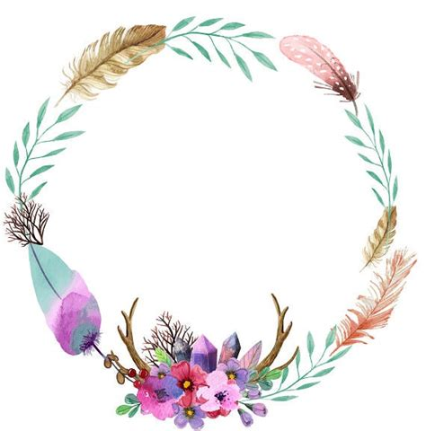 bohemian clipart watercolor clipart watercolor wreath feathers