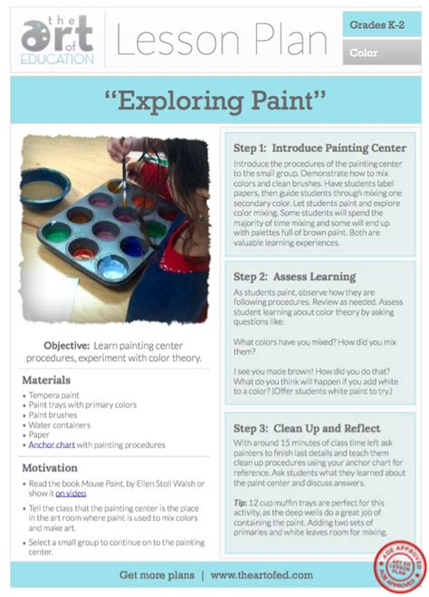 exploring paint  lesson plan   art  ed