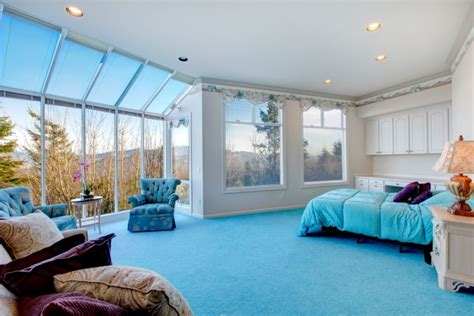 Ideas For Bedroom With Blue Carpet by Blue And White Interiors