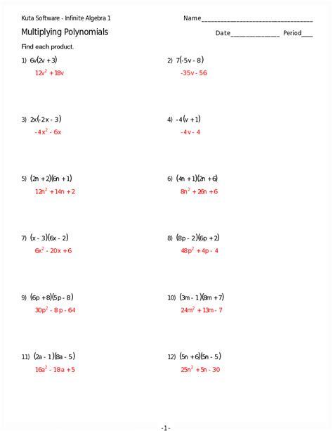 multiplying polynomials answer key kuta software