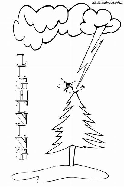Lightning Coloring Pages Tree