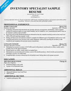 resume for inventory specialist resume sle resume format part 8