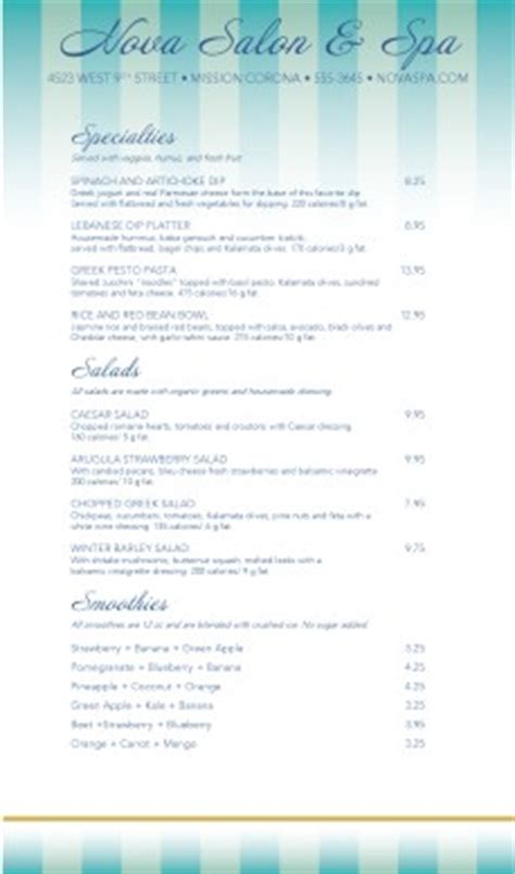 raw food menu spa menus