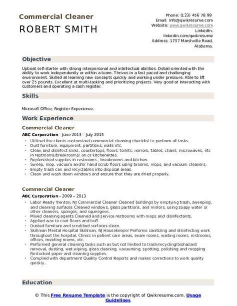 commercial cleaner resume samples qwikresume