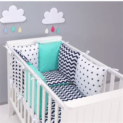 housse tour de lit bebe tour de lit coussin a nouer avec parure r 233 versible zigzag vert