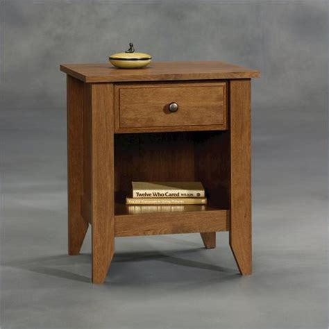 sauder shoal creek oiled oak nightstand  menards