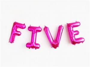 five balloons magenta pink mylar foil letter balloon With light pink letter balloons
