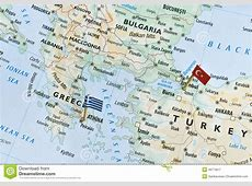 Greece And Turkey Map, Holiday Destinations Stock Image